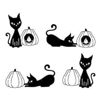 Desenho de personagem gato halloween abóbora gatinho