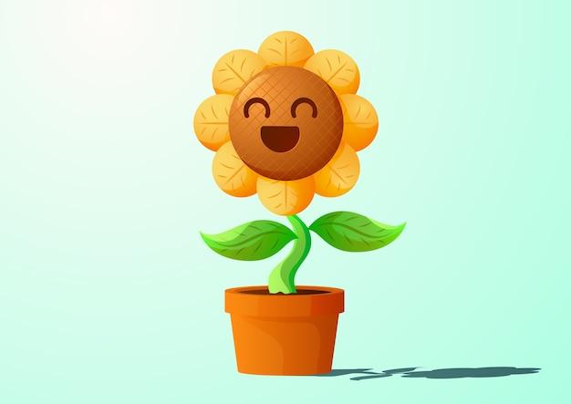 Desenho de personagem girassol sorridente