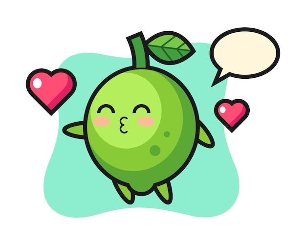 Desenho de personagem limão com gesto de beijo, estilo fofo, adesivo, elemento de logotipo