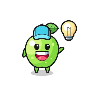 Desenho de personagem maçã verde tendo a ideia, design de estilo fofo para camiseta, adesivo, elemento de logotipo