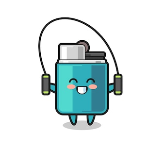 Desenho de personagem mais leve com corda de pular, design fofo