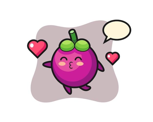 Desenho de personagem mangostão com gesto de beijo, design de estilo fofo para camiseta, adesivo, elemento de logotipo
