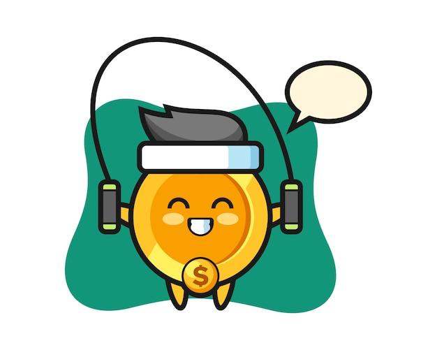 Desenho de personagem moeda de dólar com corda de pular