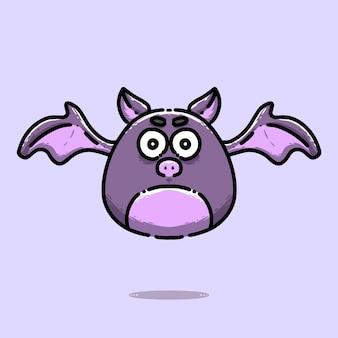 Desenho de personagem morcego roxo fofo