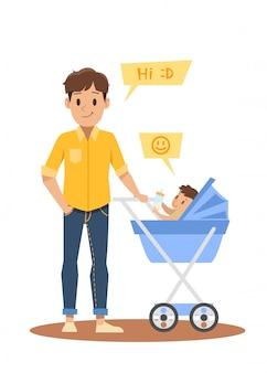 Desenho de personagem pai solteiro