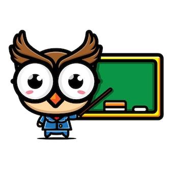 Desenho de personagem professor coruja fofa
