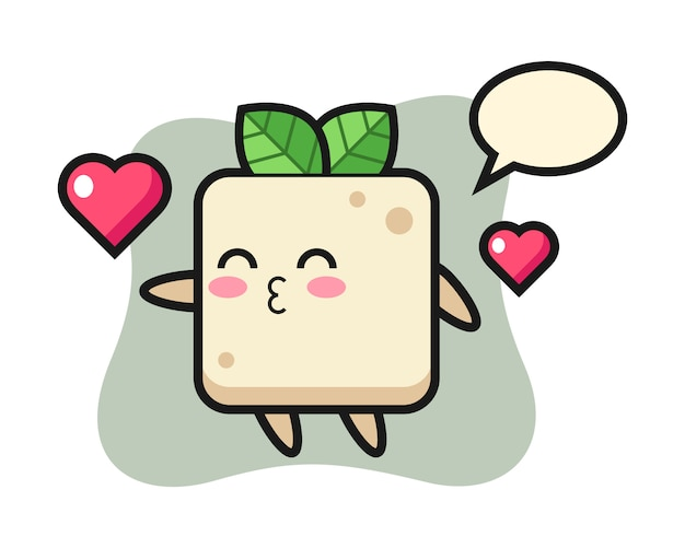 Desenho de personagem tofu com gesto de beijo, design de estilo bonito para camiseta