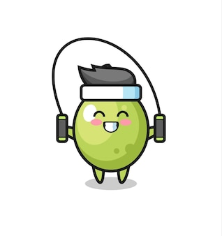 Desenho de personagem verde-oliva com corda de pular, design de estilo fofo para camiseta, adesivo, elemento de logotipo