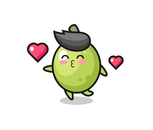 Desenho de personagem verde-oliva com gesto de beijo, design de estilo fofo para camiseta, adesivo, elemento de logotipo