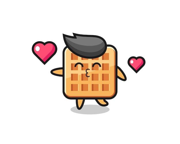 Desenho de personagem waffle com gesto de beijo, design fofo