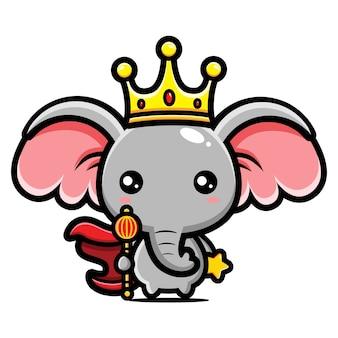 Desenho de personagens rei elefante fofo