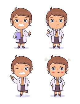 Desenho de personagens vetoriais médico chibi kawaii
