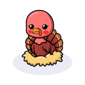 Desenho de peru de bebê fofo sentado em um ninho