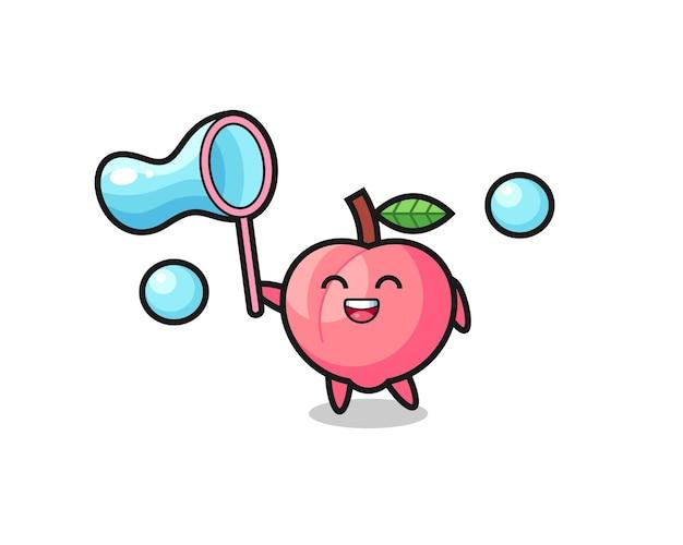 Desenho de pêssego feliz jogando bolha de sabão, design de estilo fofo para camiseta, adesivo, elemento de logotipo