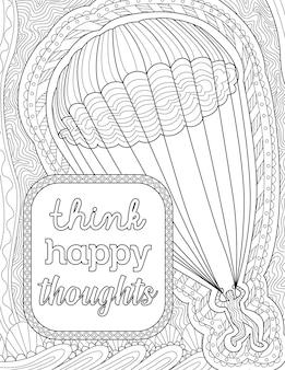 Desenho de pessoa andando em um pára-quedas no céu ao lado de desenho de linha humana de mensagem inspiradora