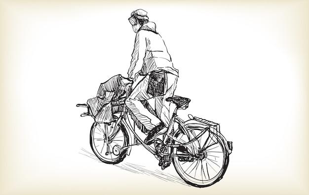 Desenho de pessoa que é mensageiro de bicicleta