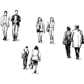Desenho de pessoas caminhando isoladas