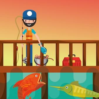 Desenho de pessoas de pesca