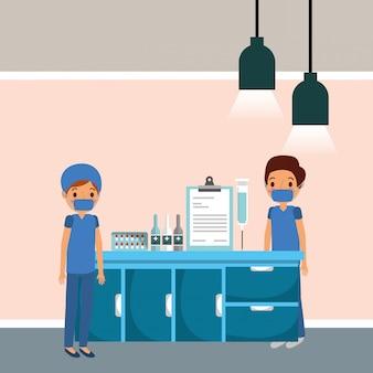 Desenho de pessoas médicas