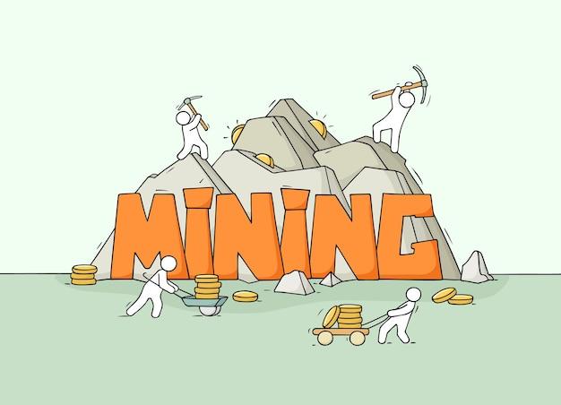 Desenho de pessoas pequenas com a palavra mineração. doodle uma cena em miniatura fofa sobre a criptomoeda de produção. mão-extraídas ilustração vetorial dos desenhos animados.