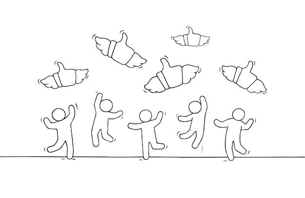 Desenho de pessoas pequenas com sinais semelhantes.