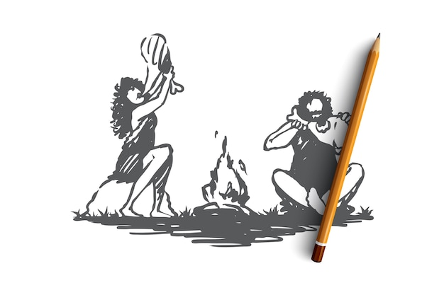 Desenho de pessoas primitivas comendo perto da fogueira.