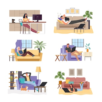 Desenho de pessoas sonhando em casa e no escritório