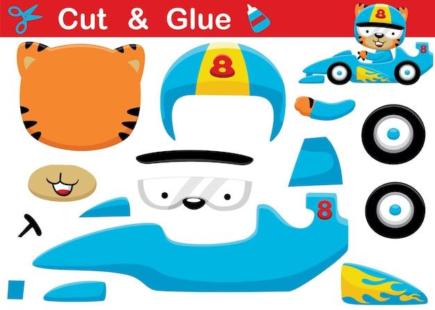 Desenho de piloto de gato usando capacete, carro de corrida. recorte e colagem