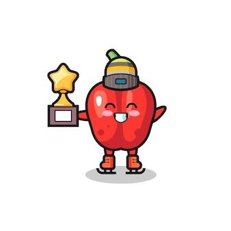 Desenho de pimentão vermelho como jogador de patinação no gelo segura troféu de vencedor, design de estilo fofo para camiseta, adesivo, elemento de logotipo