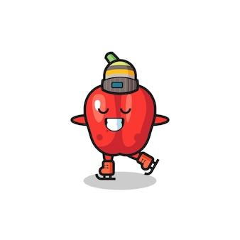 Desenho de pimentão vermelho como um jogador de patinação no gelo fazendo performance, design de estilo fofo para camiseta, adesivo, elemento de logotipo