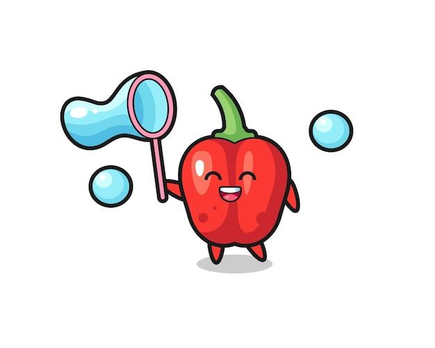 Desenho de pimentão vermelho feliz jogando bolha de sabão, design de estilo fofo para camiseta, adesivo, elemento de logotipo