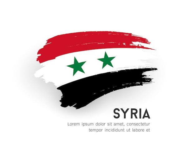 Desenho de pincelada de vetor bandeira de síria isolado na ilustração de fundo branco