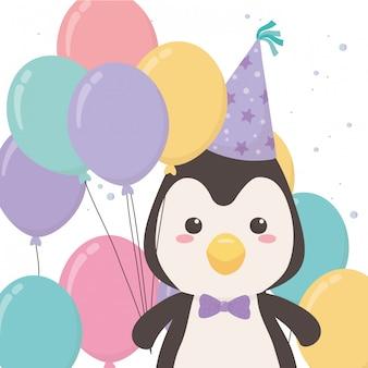 Desenho de pinguim com feliz aniversário