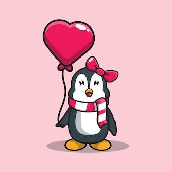 Desenho de pinguins fofos segurando um balão de amor.