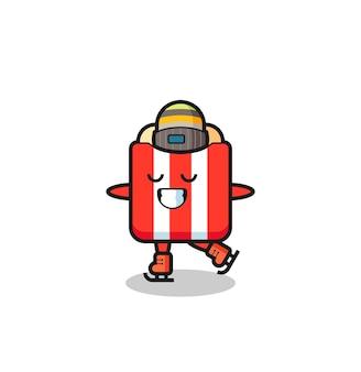 Desenho de pipoca como um jogador de patinação no gelo fazendo performance, design de estilo fofo para camiseta, adesivo, elemento de logotipo