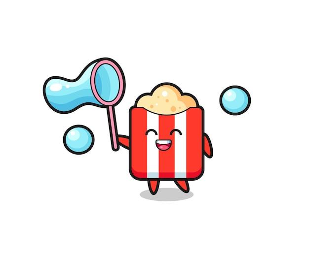 Desenho de pipoca feliz jogando bolha de sabão, design de estilo fofo para camiseta, adesivo, elemento de logotipo