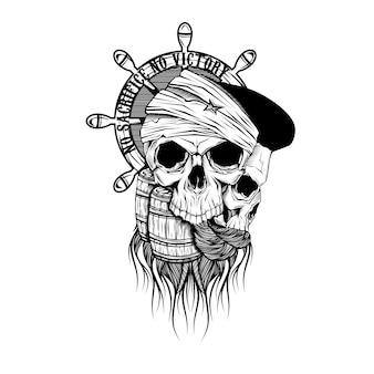 Desenho, de, pirata, cranio