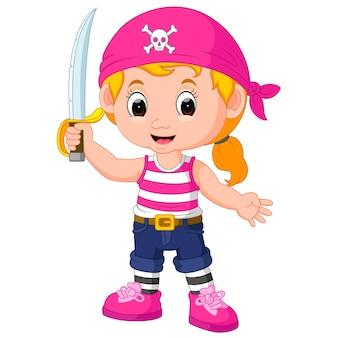 Desenho de pirata de menina de crianças