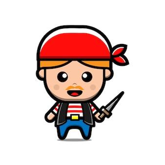 Desenho de pirata fofo