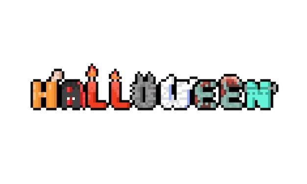 Desenho de pixel art desenho de texto assustador de halloween