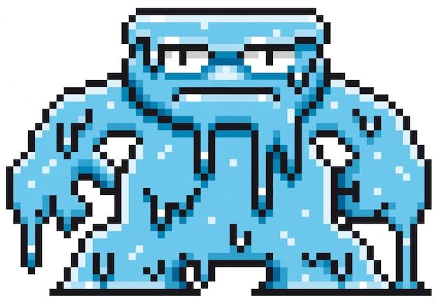 Desenho de pixel de monstro dos desenhos animados