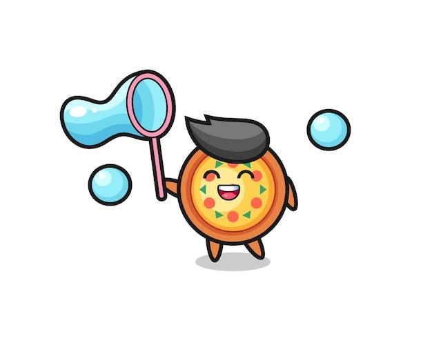 Desenho de pizza feliz jogando bolha de sabão, design de estilo fofo para camiseta, adesivo, elemento de logotipo