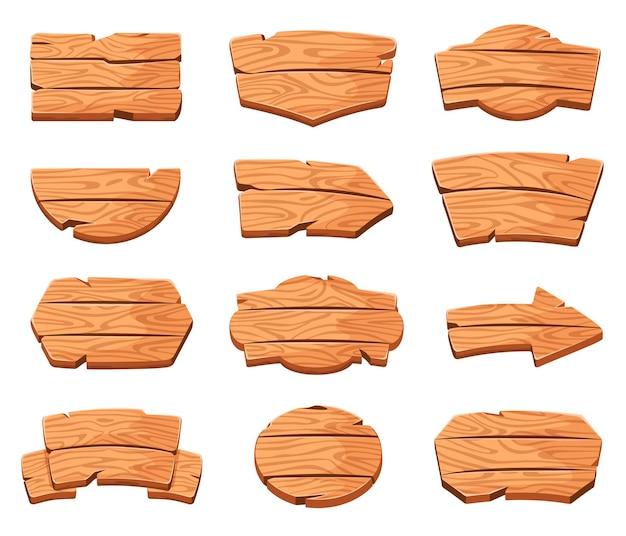 Desenho de placas de madeira em várias formas sinal de direção de seta quadro de mensagens vetor de banner de prancha rústica