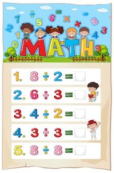 Desenho de planilha de matemática para divisão