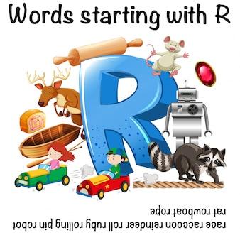 Desenho de planilha para palavras que começam com r
