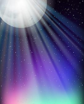 Desenho de plano de fundo com lua cheia e estrelas