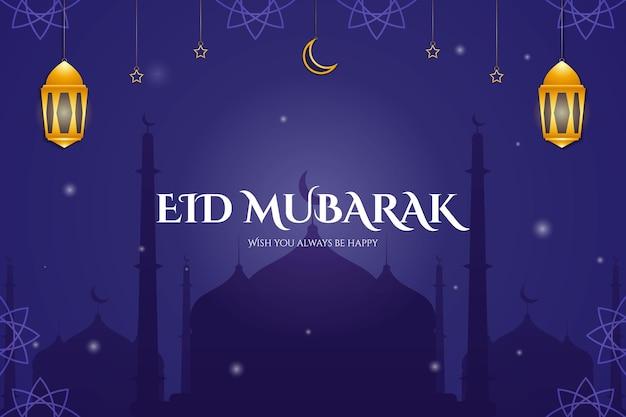 Desenho de plano de fundo de eid mubarak com mesquita e ornamento de lua estrela