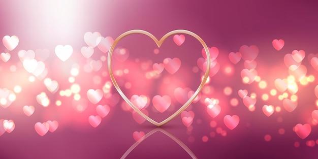 Desenho de plano de fundo do dia dos namorados com desenho de coração dourado