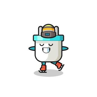 Desenho de plugue elétrico como um jogador de patinação no gelo fazendo performance, design de estilo fofo para camiseta, adesivo, elemento de logotipo Vetor Premium