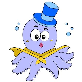 Desenho de polvo feliz com chapéu em ação, desenho de doodle fofo de personagem. ilustração vetorial